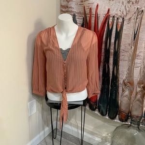 Sheer button down shirt with cute tie